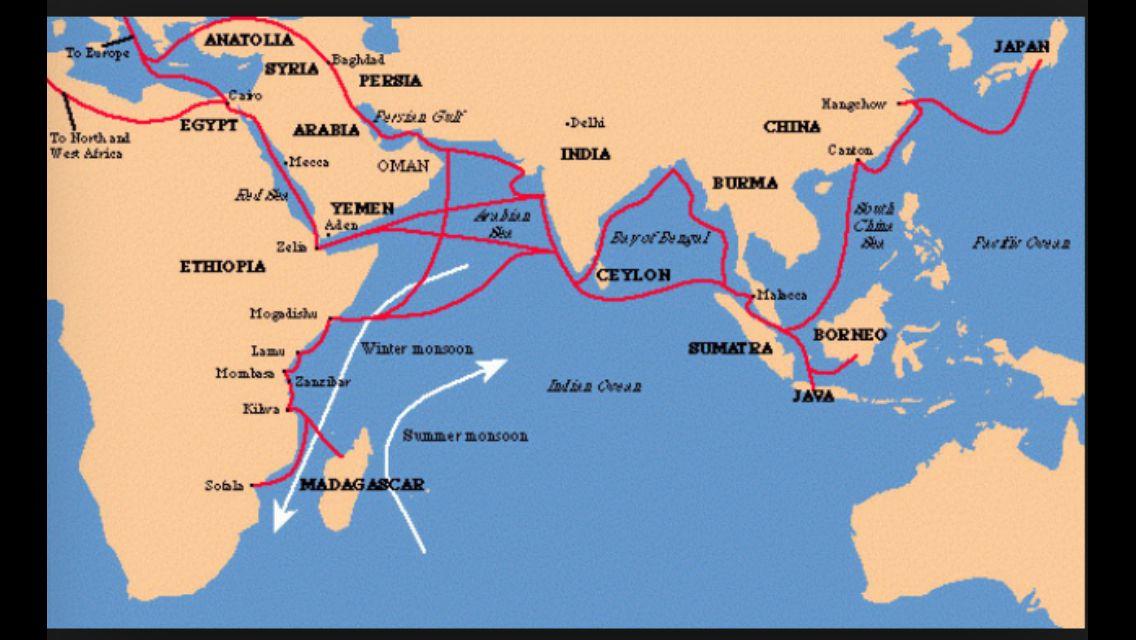 Map of Indian Ocean trade routes   Inna Lightner-Indian ...