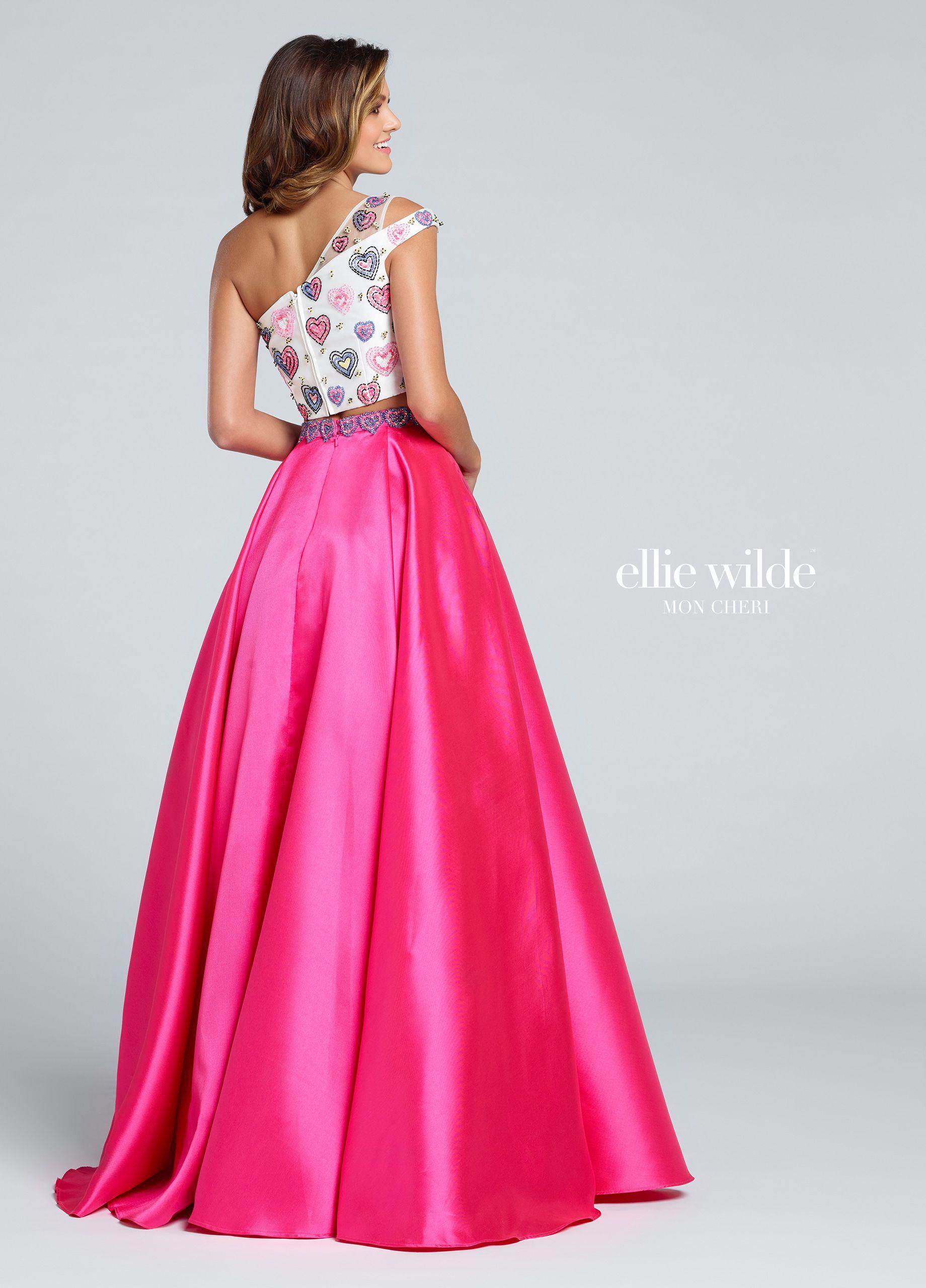 Two Piece Mikado One Shoulder Prom Dress With Pockets - EW117025