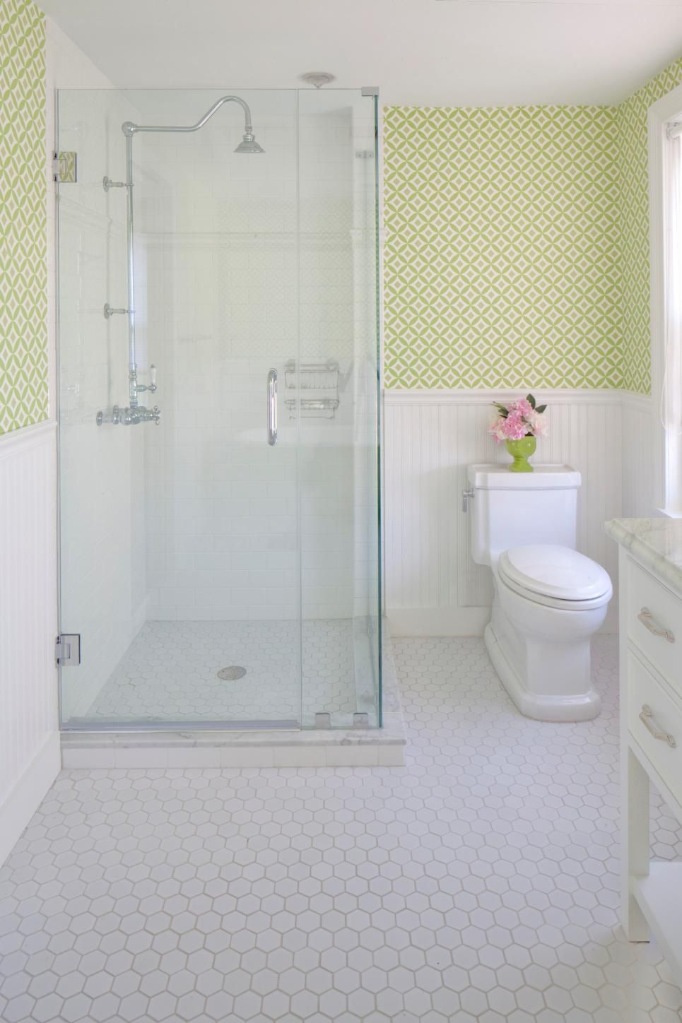 Using graphic wallpaper is a great way to update a vintage bathroom ...