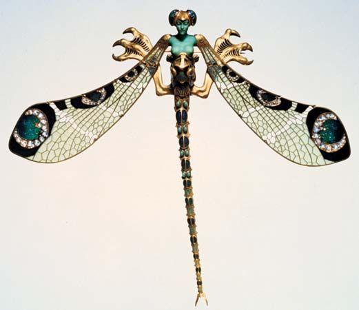 220b422980ff Ornamento del ramillete de la libélula hecho de oro
