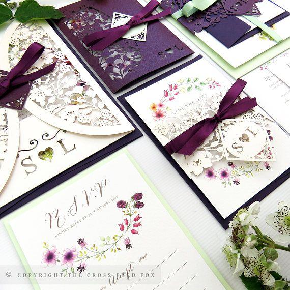 Blackberry Wedding Invitation Laser Cut Stationery Suite Watercolour Invite Rustic Country Garden Summer