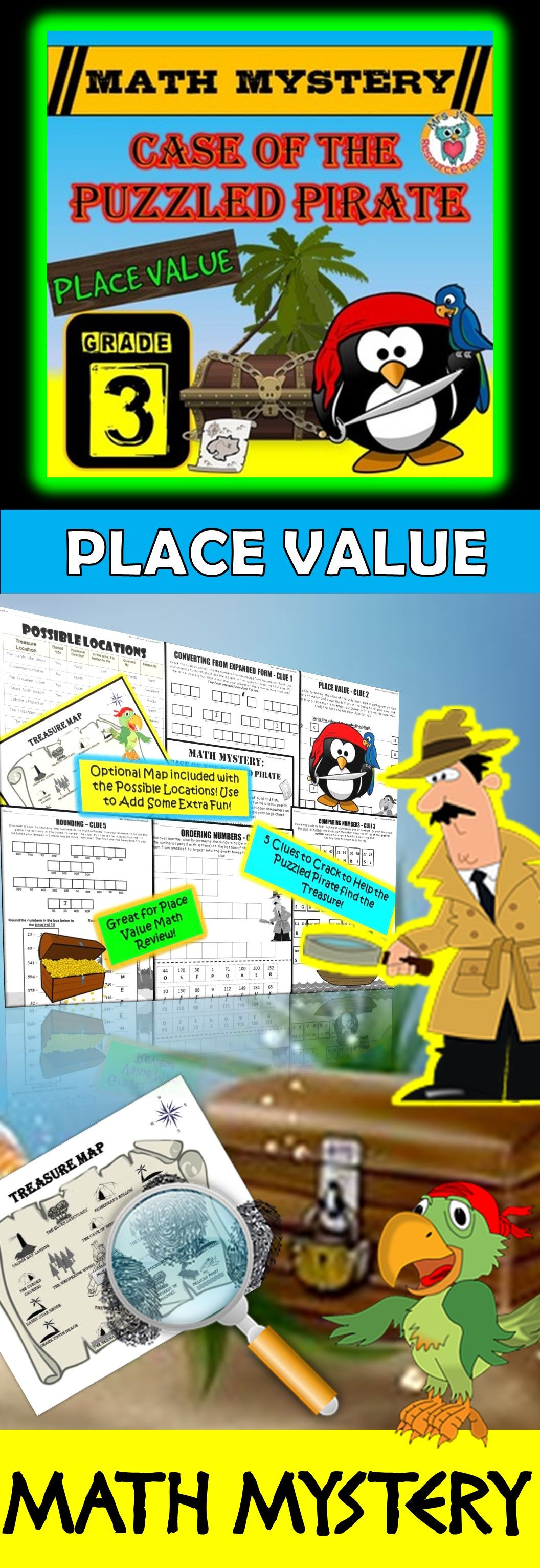 3rd Grade Place Value Review Math Mystery: Convert, Compare, Order ...