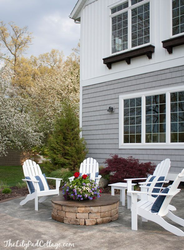 Painted Adirondack Chairs And Fire Pit The Lilypad Cottage