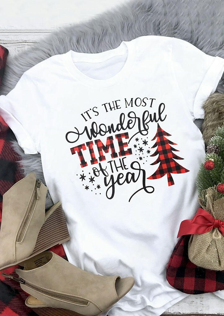 Its The Most Wonderful Time The Year T Shirt Women Plaid Christmas Tree Tops Letter Print Long Sleeve Raglan Baseball Tee