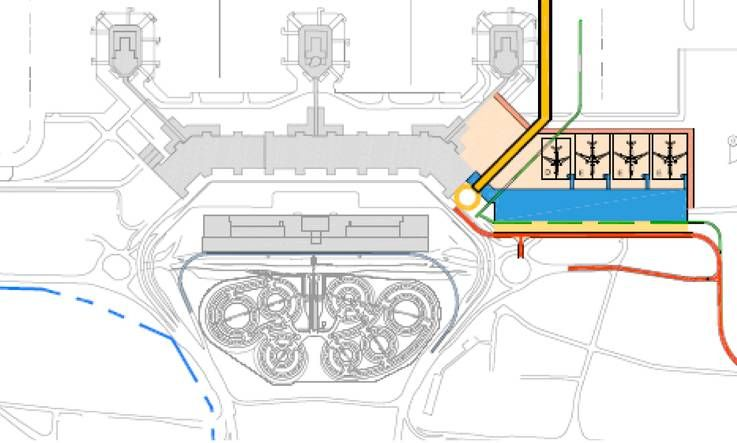 Expansion Plans For Milan Malpensa Airport Terminal Extension With Gates For Xla And A Transport Corridor In Yellow To Connect With A Mid Field Satellite Pi