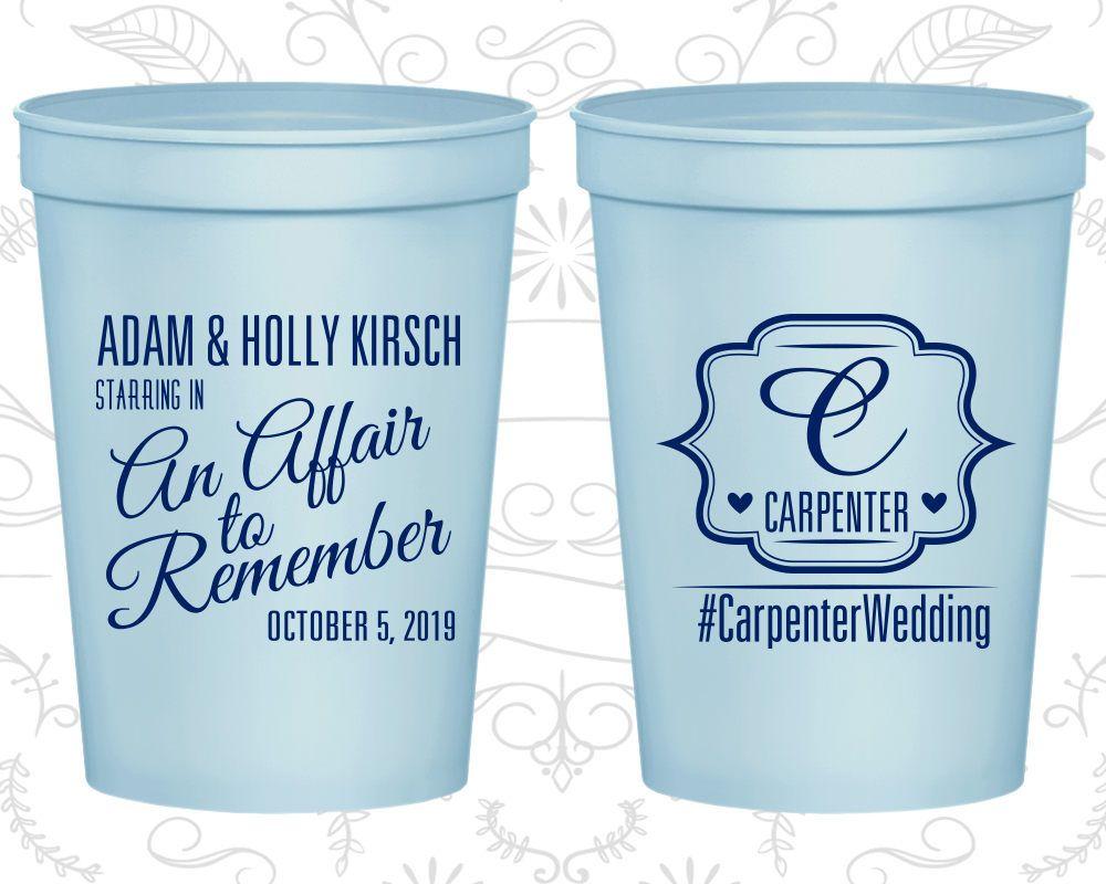 Personalized Plastic Cups Wedding Stadium Custom Monogrammed C595