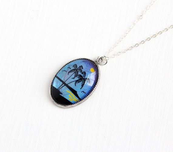 Sterling Silver Iridescent Butterfly Tree Pendant