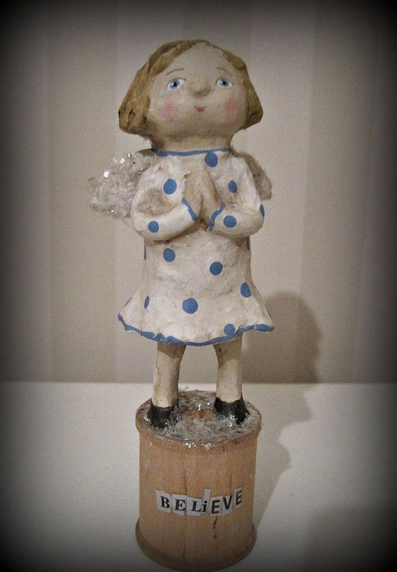 Believe  Angel ooak doll folk art papier mache by Joannabolton, $37.00 Little BELIEVE Angel. She is hand sculpted of papier mache. She measures 6 inches tall.  Angel is painted with acrylics, varnished, antiqued and signed.