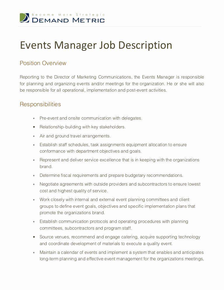 Event Coordinator Job Description Resume New events