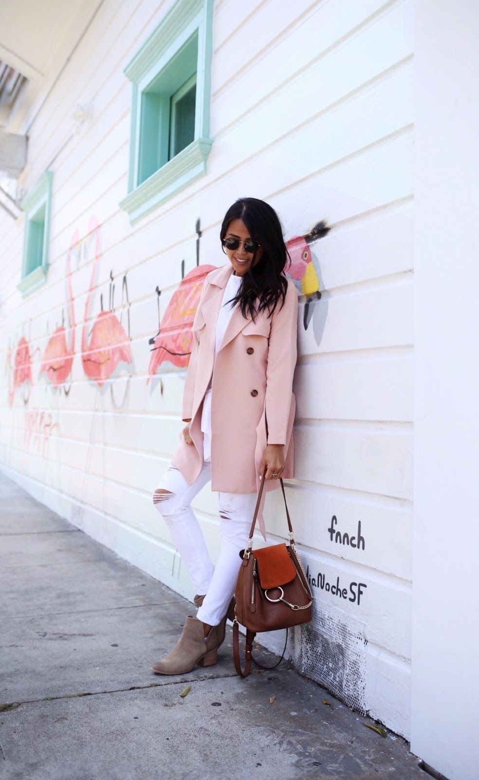 cdbfc7997 Abercrombie Fitch Pink Drapey Trench Coat Gypsy Tan Chloe Backpack Faye