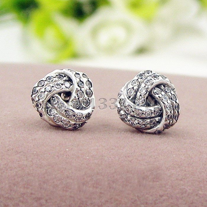 beebdc42b Sparkling Love Knot Earrings zircon Ear Studs Compatible with Pandora  Jewelry Original Authentic 925 Sterling Silver