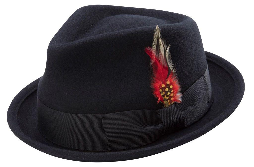 fe09d585888b1 Montique Bogart Stingy Brim Fine Heather Wool Felt Bogart Teardrop Dent Hat  With Feather