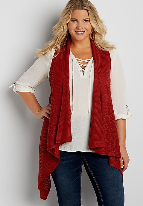 plus size knit waterfall vest | maurices | my style | pinterest