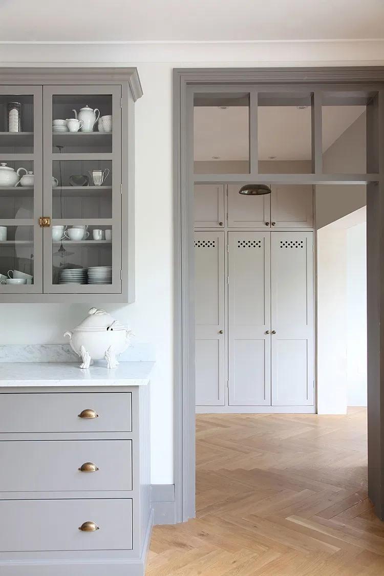 Trend Alert Contrast Trim Room For Tuesday Blog In 2020 Herringbone Floor Grey Kitchen Cabinets Home