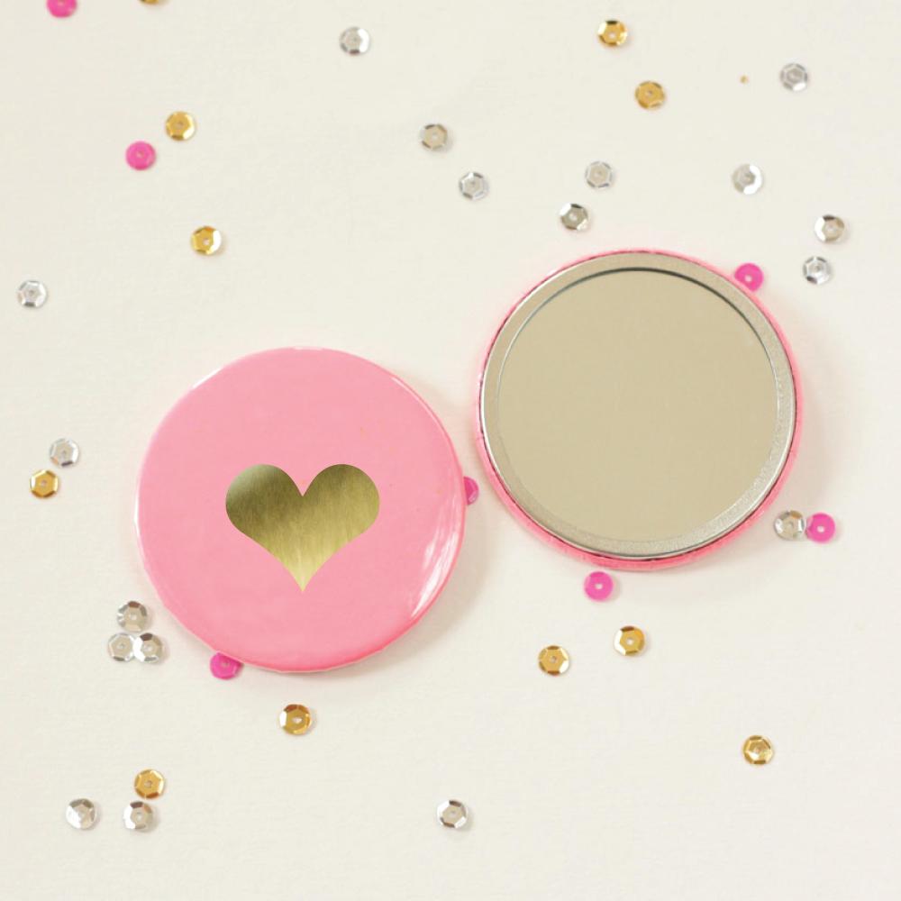 Pocket Mirror   Gold Foil   Heart
