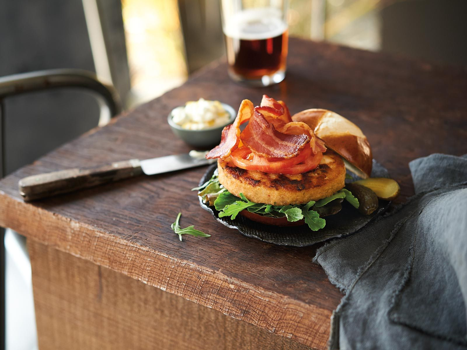 Bacon And Blue Wild Alaska Pollock Burger Recipes Trident Seafoods Recipe Burger White Fish Recipes Recipes