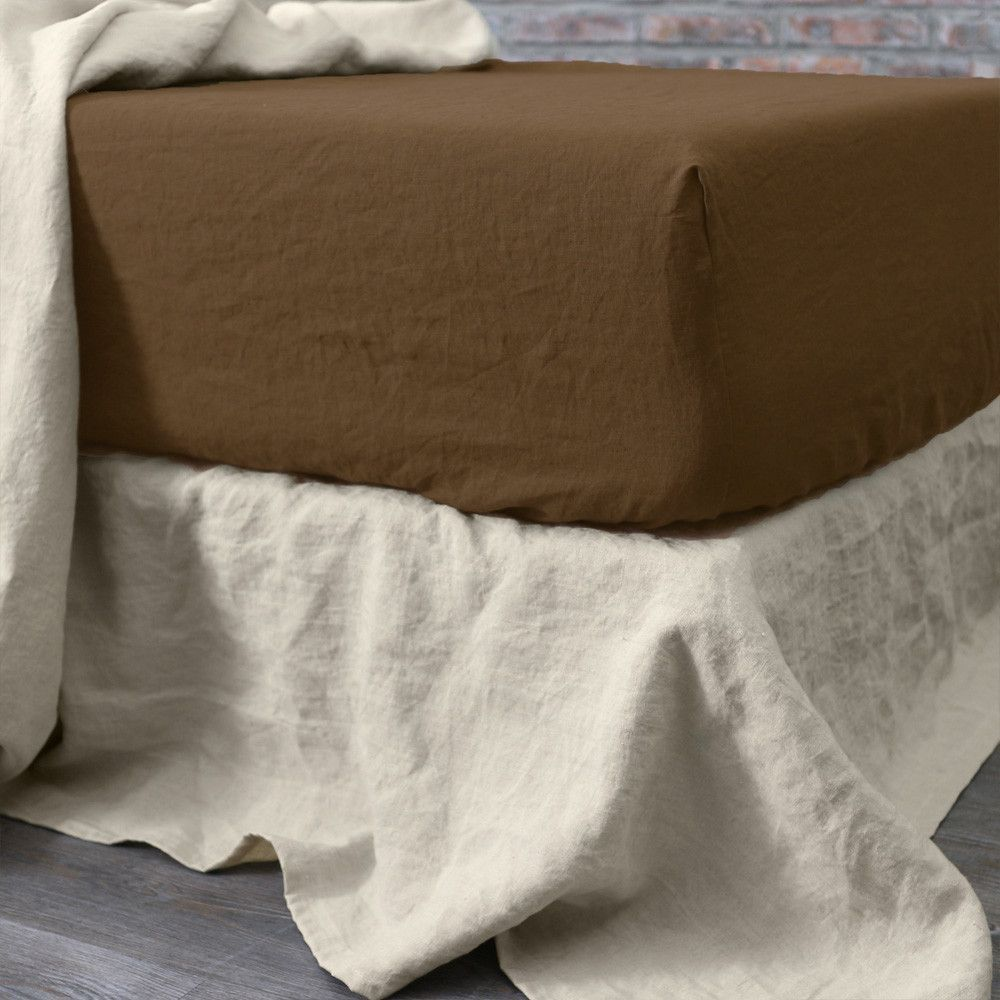 Linen Fitted Sheet Earth