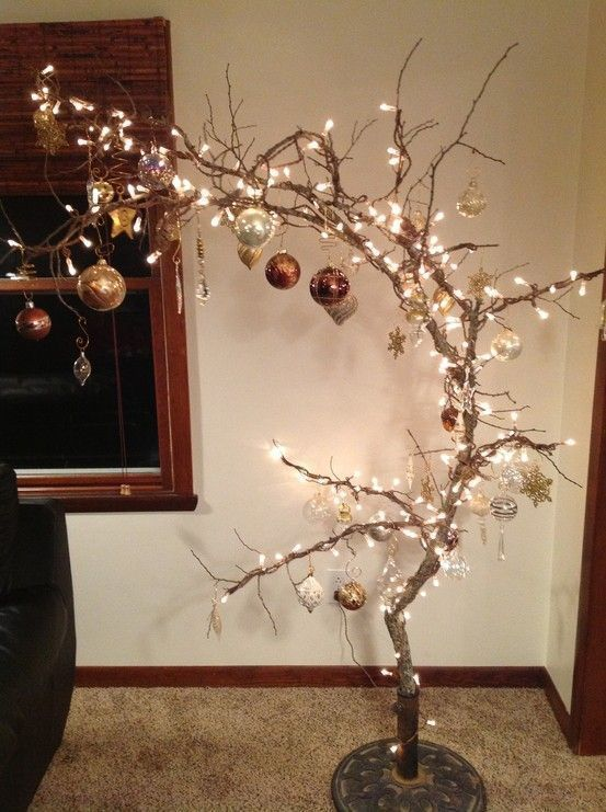 Instead of a Christmas tree we are decorating a charming branch tree this yearbranch