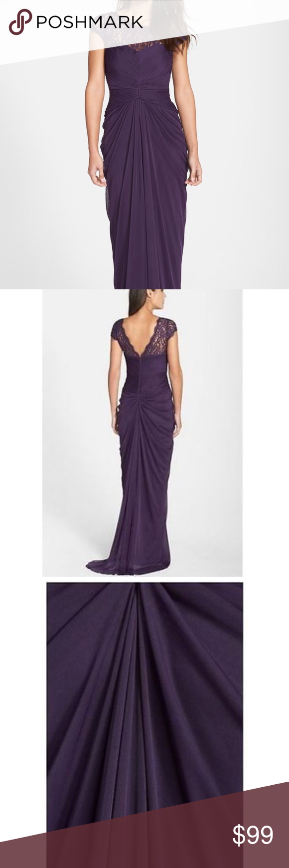 Adrianna Papell lace yoke drape gown NWT   Adrianna papell, Floor ...