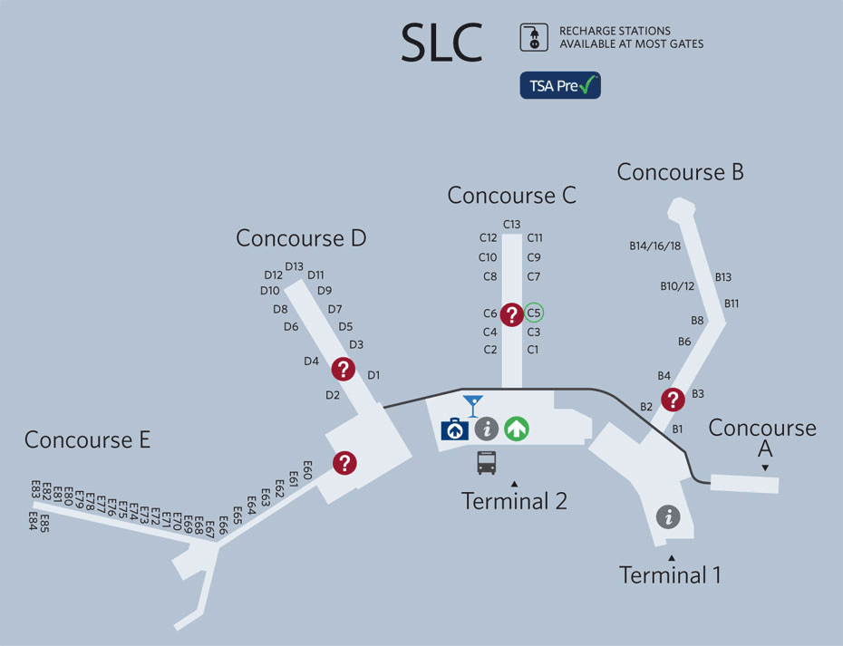 Slc Airport Terminal Map Salt Lake City Airport Map | Airports | Salt lake city airport