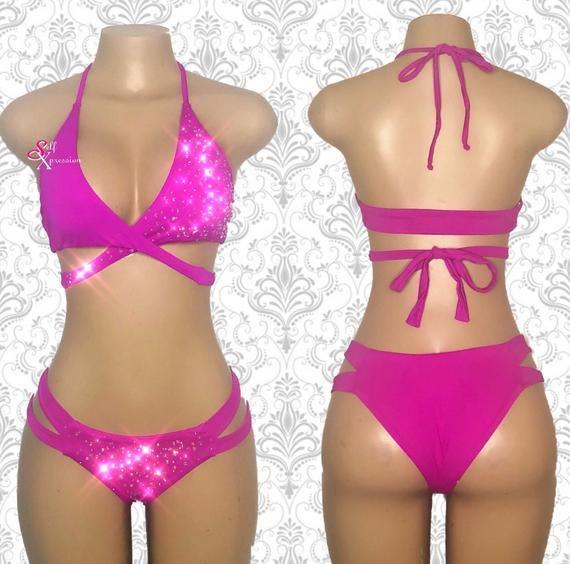 35a9240e2b0 Rhinestones Swimwear Bikini Carnival Costume Festival Outfit Sexy Lingerie  Set Erotic Lingerie Pole Dance Rave Clothing Cage Lingerie