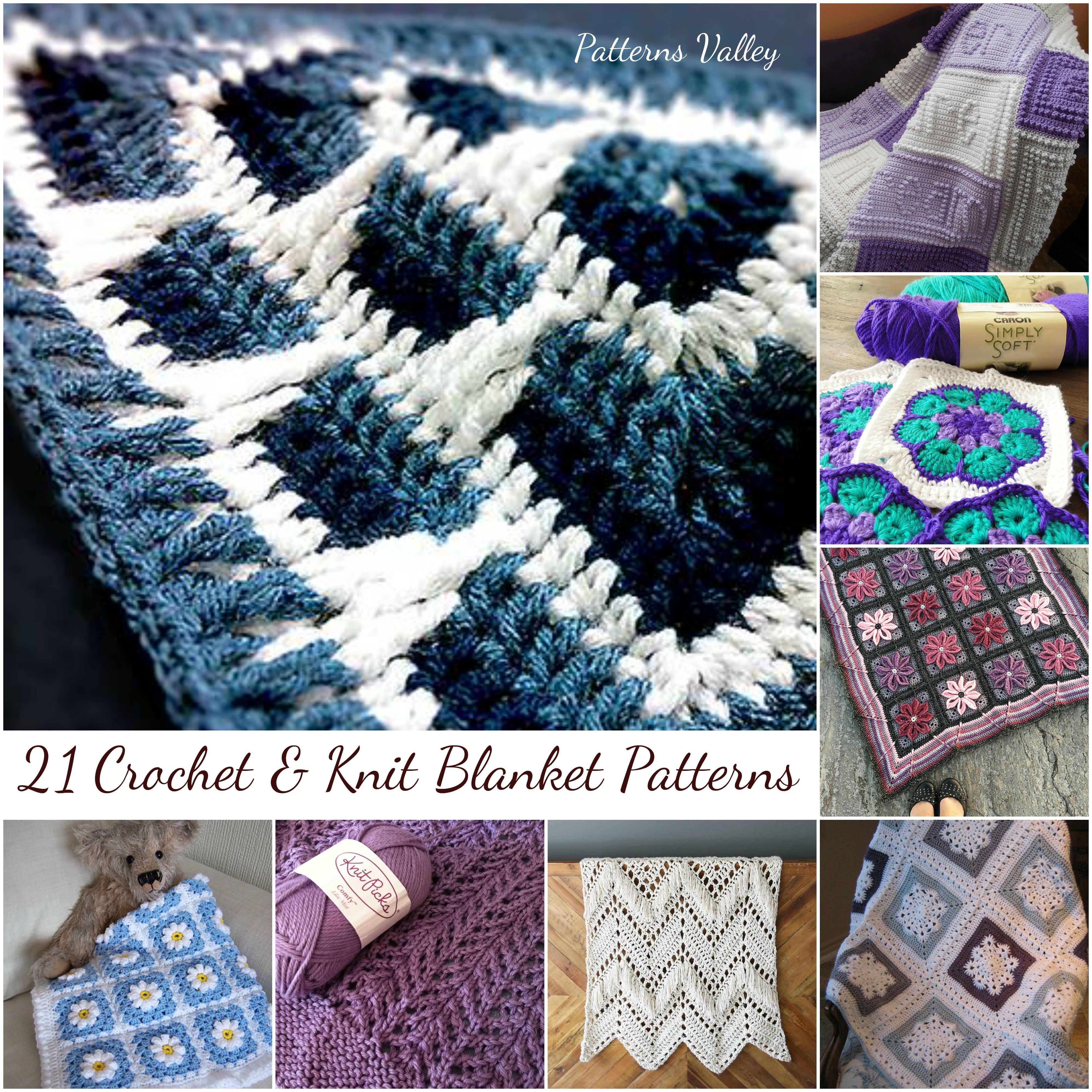 21+ Crochet & Knit Blankets Patterns You should try this winter! Download and start crochet or knit! #crocheting #knitting