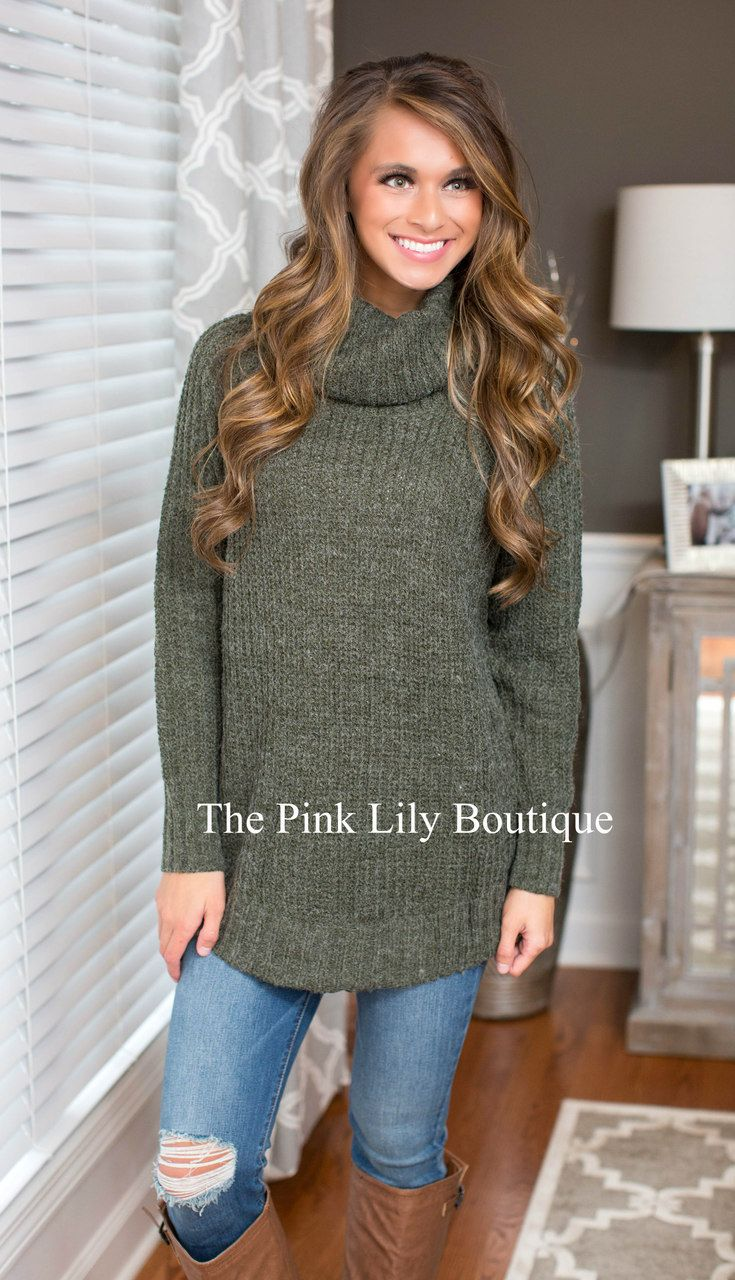 Sugar Plum Dreams Cowl Neck Sweater Olive - The Pink Lily Boutique ...