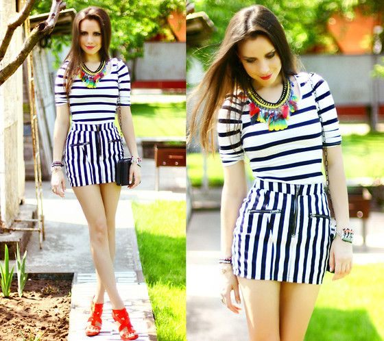 Mini and strips (by Perventina Ols) http://lookbook.nu/look/3429379-Mini-and-strips - those shoes <3