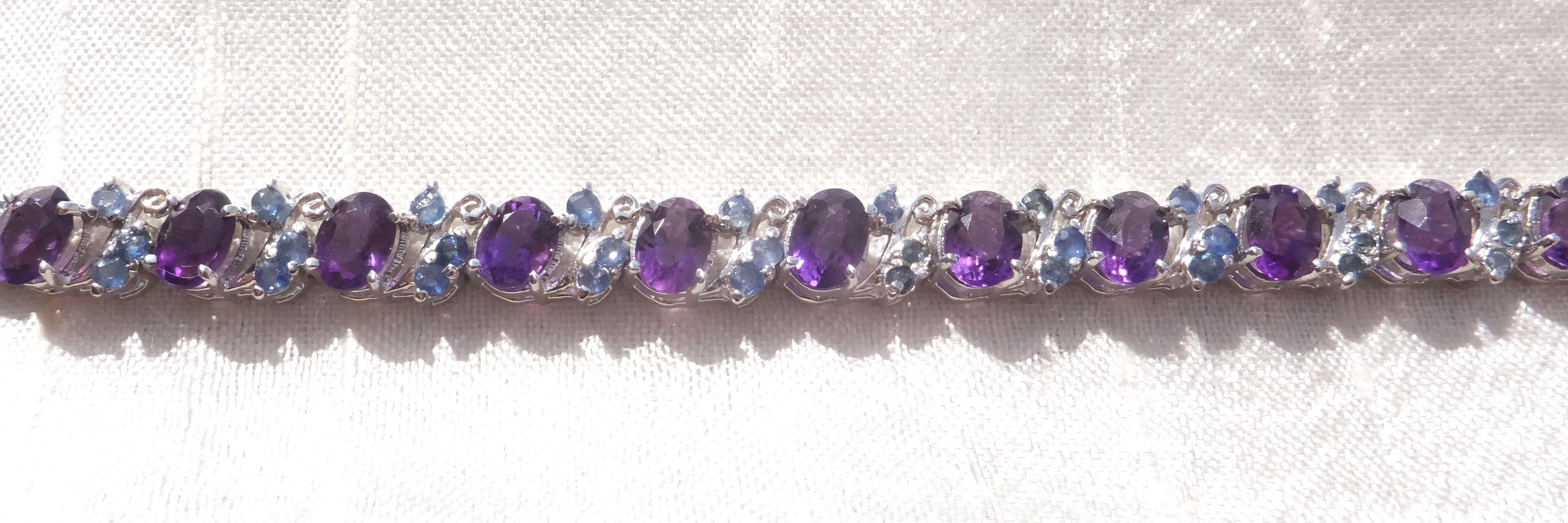 12 Carat Amethyst Sapphire Bracelet Sapphire Bracelet Amethyst Beaded Bracelets