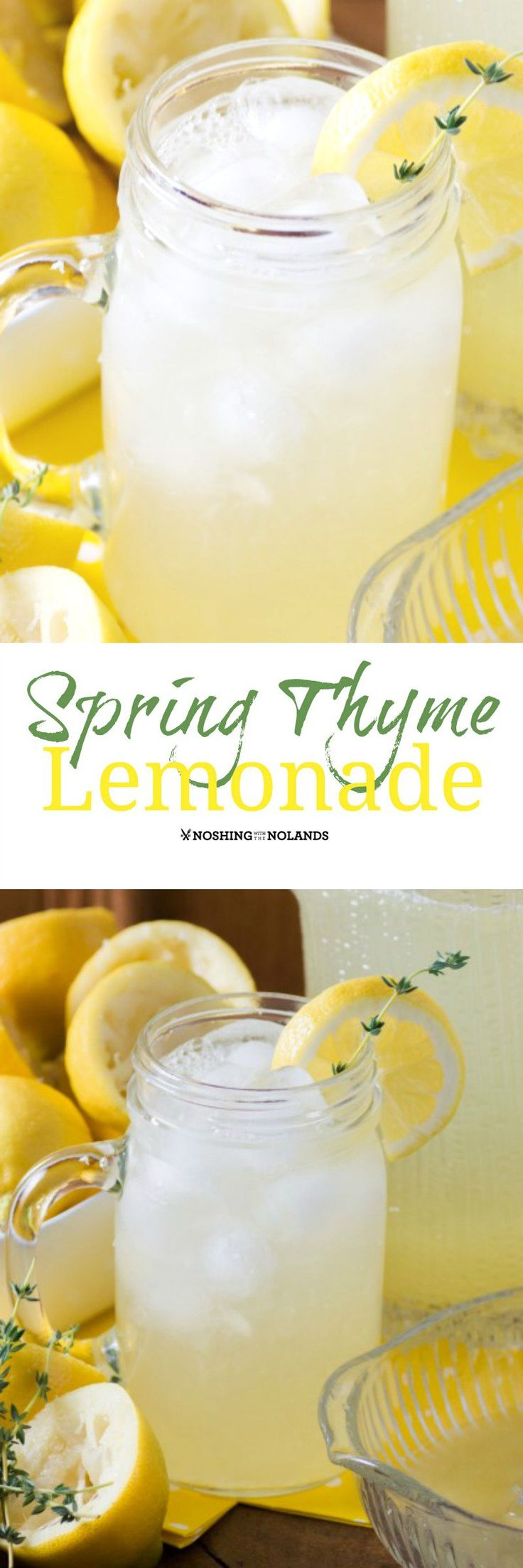 Spring Thyme Lemonade by Noshing With The Nolands - With the warmer weather coming this refreshing treat will quench your thirst!  There's nothing like homemade lemonade!