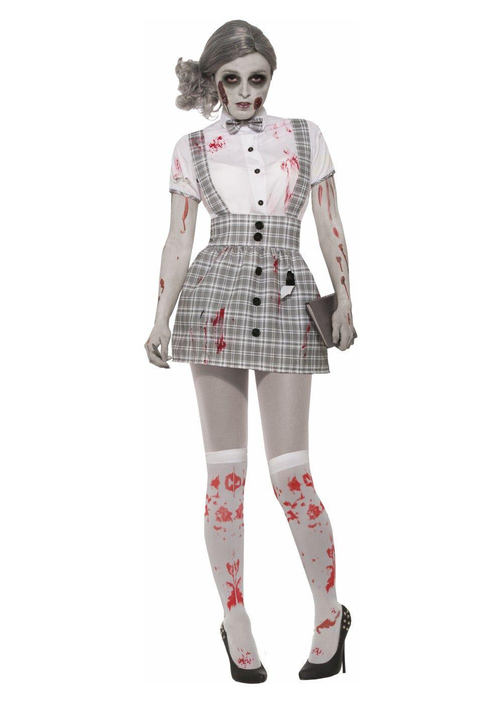 LADIES WOMENS ADULTS SCARY SCHOOLGIRL FANCY DRESS COSTUME ADD WIG HALLOWEEN