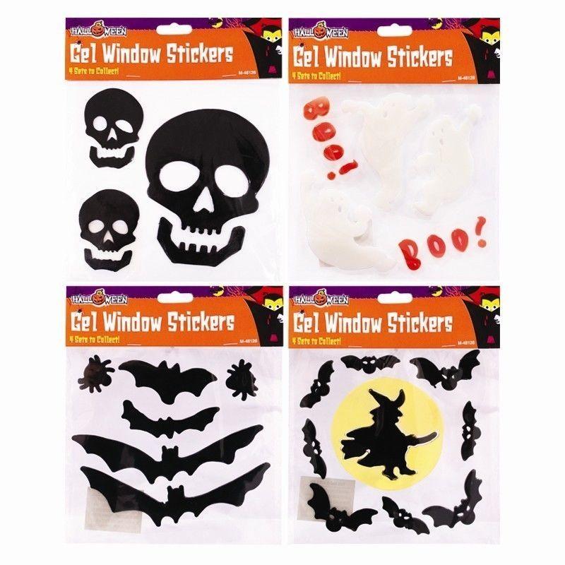 Halloween Gel Window Stickers Clings Ghost Witch Bat  Skull Designs - halloween window clings