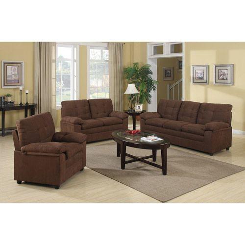Buchannan Microfiber 3 Piece Living Room Set: Furniture : Walmart.com