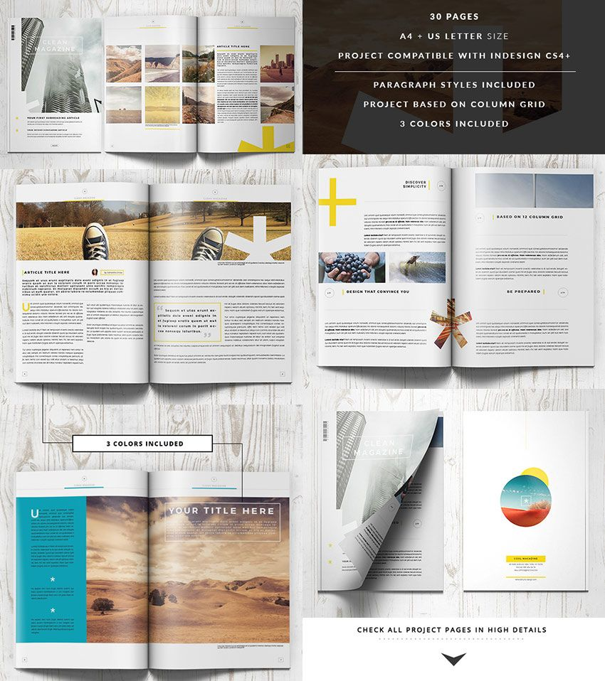 Clean InDesign Magazine Template | Layouts | Pinterest
