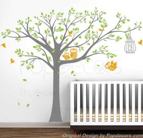Popdecors Wall Decals Stickers Nursery Tree With Cute Owls B Free Squeegee And