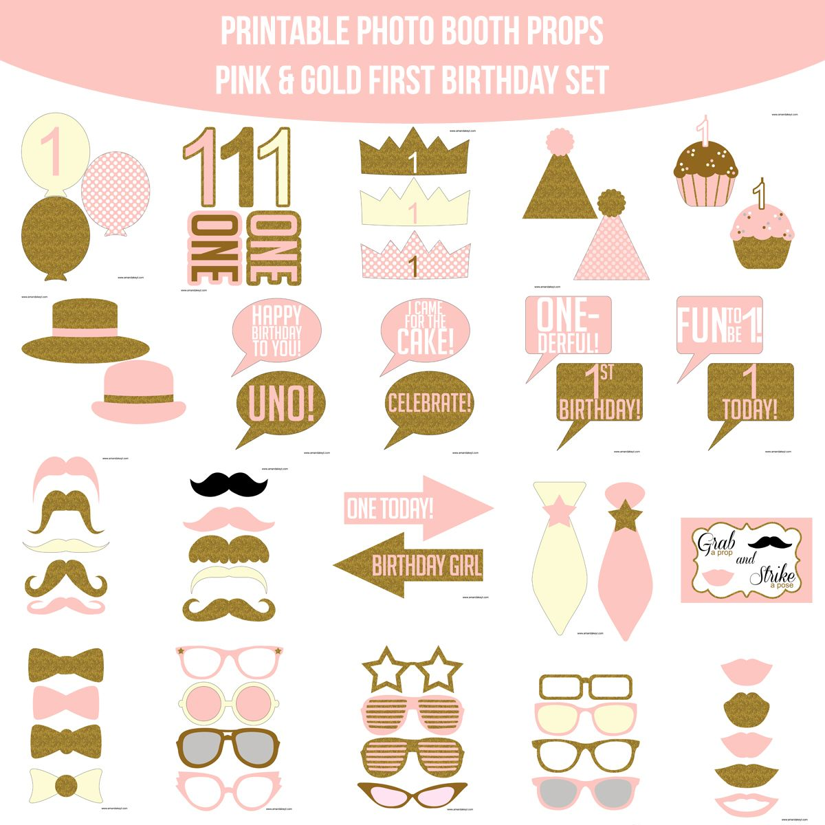 Instant Download First Birthday Pink & Gold Glitter