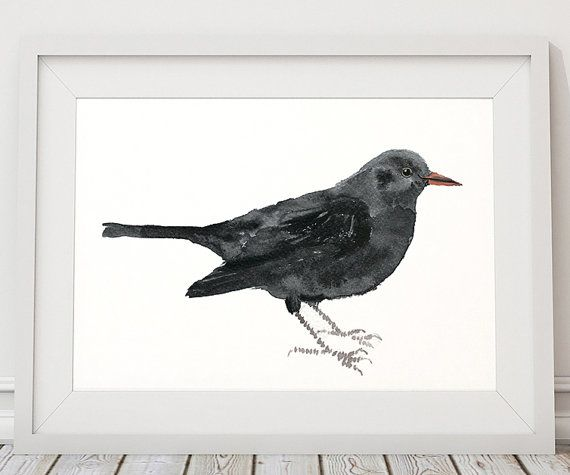 Very cute bird watercolor print. Lovely beautiful blackbird poster. Nice nursery art. BUY 1 GET 1 FREE - use coupon code 777FOXY at checkout.