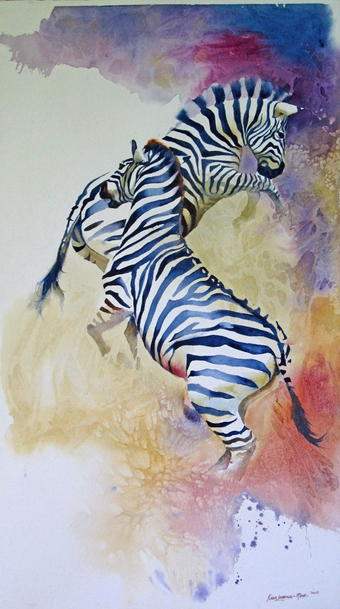 Fight! (With images) Animal paintings, Zebra art, Animal art