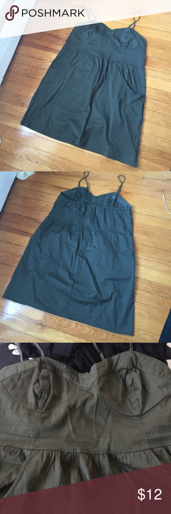 Army green dress Cute army green dress. Two front pockets. Back zip. Bustier type top (see photo). Hits above the knee. Mossimo Supply Co Dresses