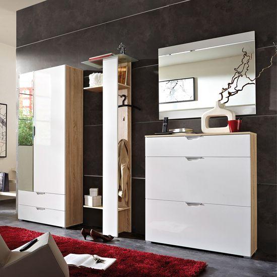 Eva Contemporary Hallway Furniture In Gloss White U0026 Canadian Oak
