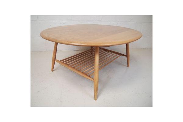 Ercol Vintage Beech Elm Coffee Table On Splayed Legs Vinterior London Midcentury