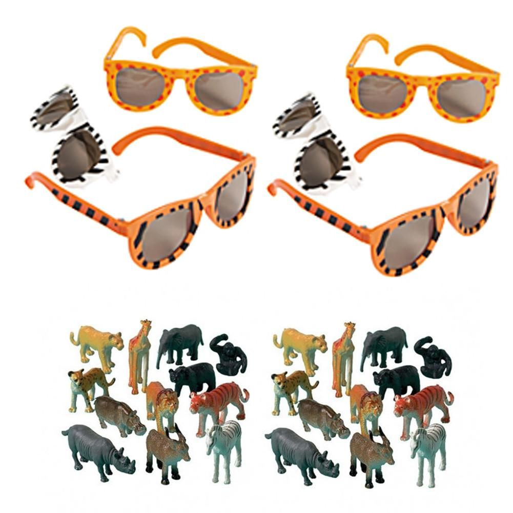 Pink Zoo Animals Safari Lion Zebra Baby 1st First Birthday: 12 Animal Print Glasses & 24 Animal Party Favor Figures