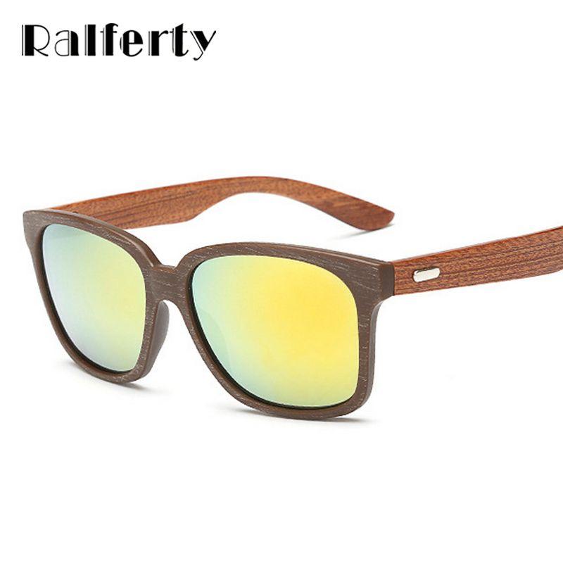 b83c4f66592b Ralferty Unisex Oversized Square Imitation Wood Sunglasses Men Brand  Designer Mirrored Sun Glasses Women Sport Sunglases Oculos