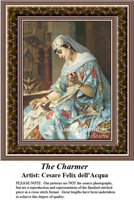 Fine Art Cross Stitch Pattern | The Charmer, counted cross stitch, cross stitch kits, cross stitch designs, cross stitch pattern, fine art counted cross stitch, fine art cross stitch #stitching