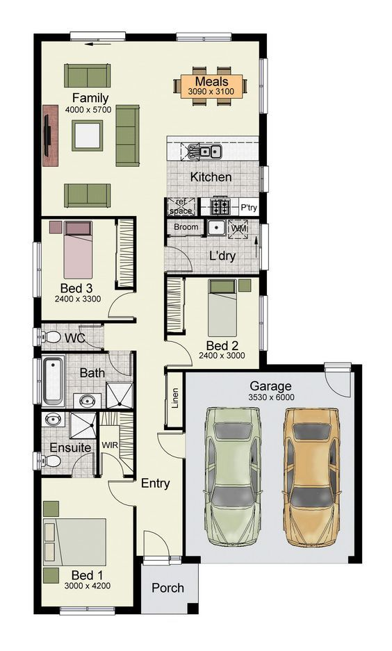 Single story home floor plan with 3 bedrooms double for Apartment design 90m2