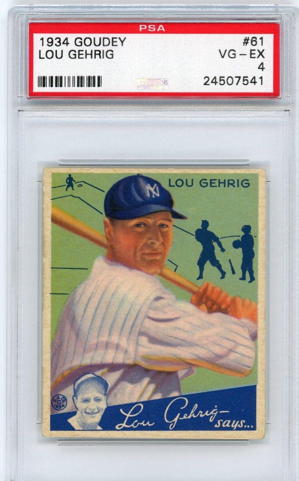 1934 Goudey Gum Baseball Card 61 Lou Gehrig Psa Graded 4