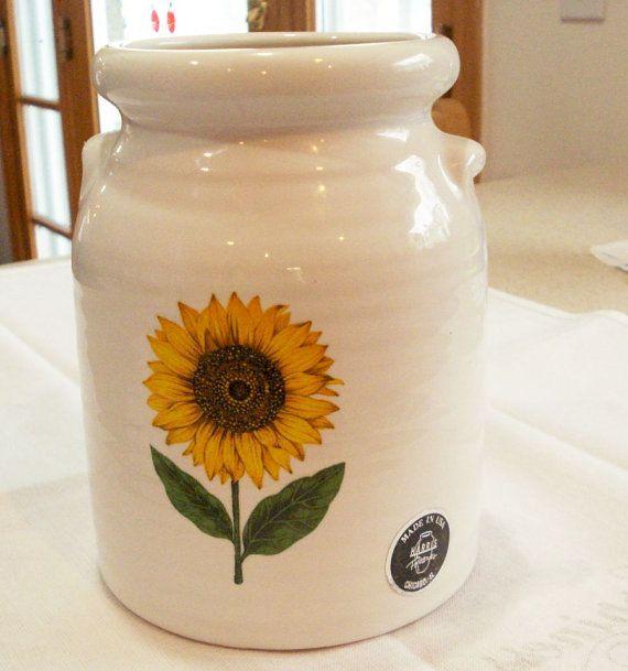 Sunflower Utensil Pot By Harris Pottery Chicago Il Sunshine