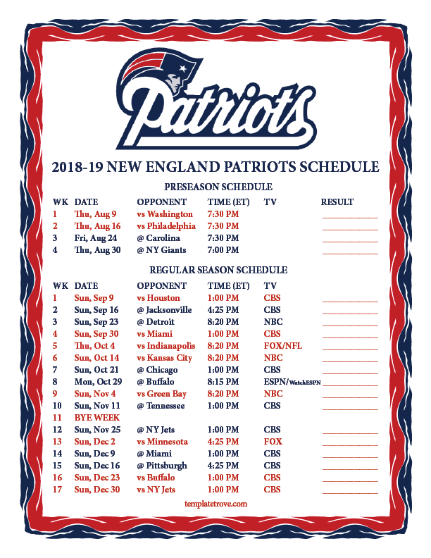 New England Patriots Schedule 2019-20 Printable 2018 2019 New England Patriots Schedule | Patriots