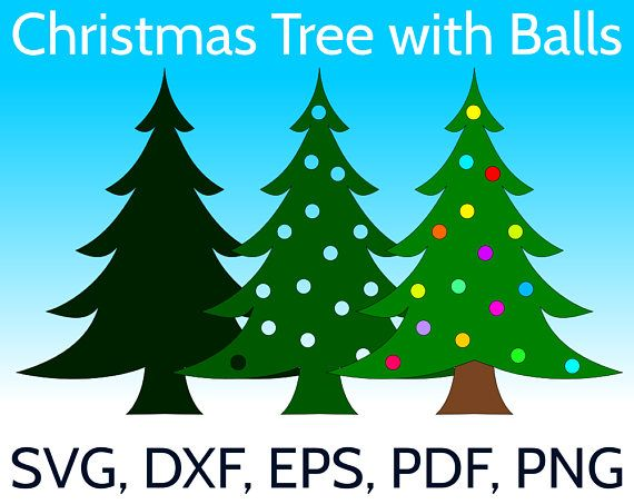 Christmas Tree With Christmas Balls SVG Design And Cut