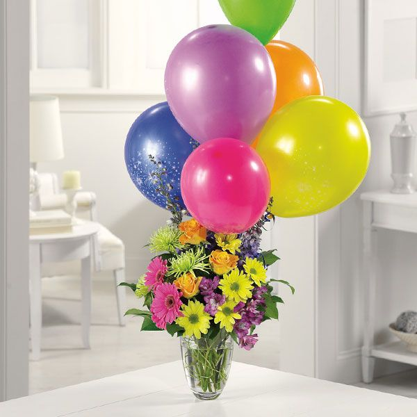 Mixed Vase With Balloon Bouquet